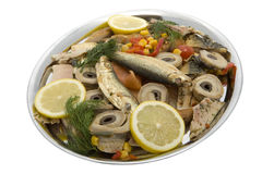 Fish plate with smoked fish Stock Photography