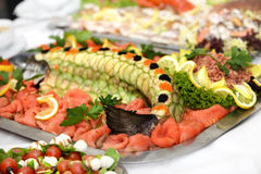 Fish platter with salmon. Served delicious Royalty Free Stock Photography