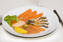 Fish platter with salmon caviar Stock Photography