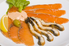 Fish platter with salmon caviar Royalty Free Stock Photography
