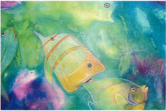 Fish Playing in Mixed Media. Illustration,Original watercolor,ink and colored pencil painting by me, depicting tropical fish playing in blue water.Could be used vector illustration