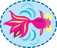 Fish in the pond. A golden fish swimming in the pond with water, placed inside a dotted line frame vector illustration