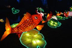 Fish pond lanterns Royalty Free Stock Photos
