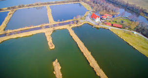 Fish ponds farm. Lithuania from above aerial, fish ponds Stock Images
