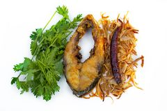 Hilsa fish fry, onion and dried chilly with Coriander leaf in plate. The fish is popular food amongst the people of South Asia and in the Middle East, but Stock Photo
