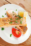 Fish portion : roasted salmon Royalty Free Stock Images