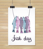 Fish poster. Menu card. Fish design background. Fish poster. Menu card Royalty Free Stock Image