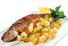 Fish and potatoes Royalty Free Stock Image