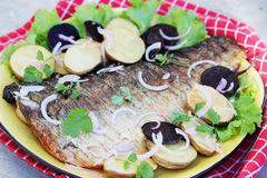 Fish with potatoes Royalty Free Stock Photography