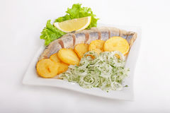 Fish with potatoes and onions Royalty Free Stock Images
