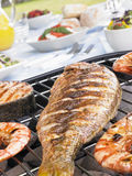 Fish And Prawns Cooking On A Grill
