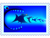 Fish predators stamp Stock Photo
