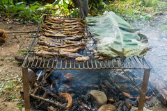Fish preservation of countryside in thailand by fire and smoke Royalty Free Stock Image