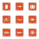 Fish prey icons set, grunge style. Fish prey icons set. Grunge set of 9 fish prey vector icons for web isolated on white background Stock Photography