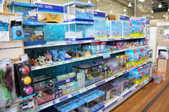 Fish products and aquariums. London, England – Circa July 2014: Tropical and cold water fish products for sale in a pet supermarket in England stock images