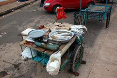 Fish Pushcart. A humble and untidiness fish trolley in Macapá, amazon forest Stock Image