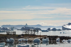 Fish racks. Fish drying racks - Saqqaq in Western Greenland Stock Photos