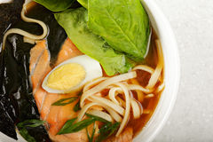 Fish ramen soup above view Royalty Free Stock Photos