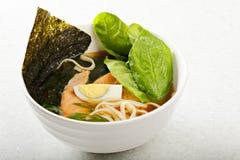 Fish ramen soup Stock Images