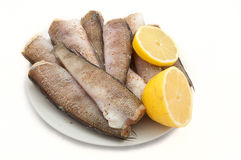 Fish ready for cooking with spices and lemon Royalty Free Stock Photo