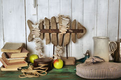 Fish reasaurant styled shabby chic interior corner Stock Photo