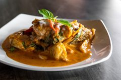 Fish with Red Curry Paste Royalty Free Stock Images