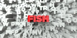 FISH -  Red text on typography background - 3D rendered royalty free stock image. This image can be used for an online website banner ad or a print postcard Royalty Free Stock Image