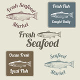 Fish Related Signs and Labels. Fish and seafood related signs and labels featuring a Atlantic Salmon Stock Image