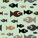 Fish repetitions. Seamless wallpaper with cartoon fishes Stock Image