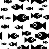 Fish repetitions. Seamless wallpaper with cartoon fishes Stock Images