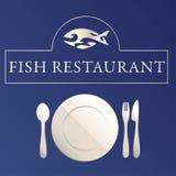 Fish restaurant. Illustration on blue background Royalty Free Stock Photography