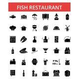 Fish restaurant barbeque illustration, thin line icons, linear flat signs. Fish restaurant barbeque illustration, thin line icons, linear flat signs, outline Stock Photography
