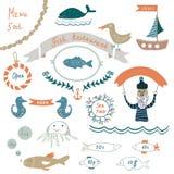Fish restaurant invitation or menu elements - funny design. Illustrations Stock Photography