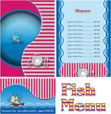 Fish restaurant menu. Template designs of menu and business card for fish restaurant Royalty Free Stock Photo