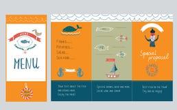 Fish restaurant menu design - hand drawn illustration Royalty Free Stock Photos