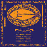 Fish restaurant menu illustrations Stock Photography