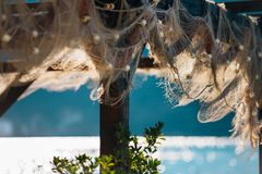 Fish restaurant in Montenegro. Details. royalty free stock images