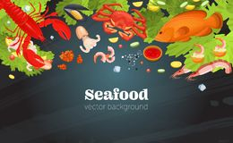 Fish restaurant seafood dishes food cooked a gourmet dinner background. Sea food top view background. Fish restaurant seafood dishes food cooked a beautiful vector illustration