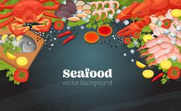 Fish restaurant seafood dishes food cooked a gourmet dinner background. Sea food top view background. Fish restaurant seafood dishes food cooked a beautiful royalty free illustration