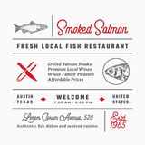 Fish Restaurant Signs, Titles, Inscriptions and Menu Decoration Elements Set. Premium Quality Retro Typography Layout. With Hand Drawn Food Icons and Symbols Royalty Free Stock Photos