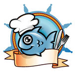 Fish restaurant symbol. Fish chef  restaurant symbol with banner Royalty Free Stock Image