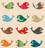 Fish retro seamless pattern Royalty Free Stock Photos