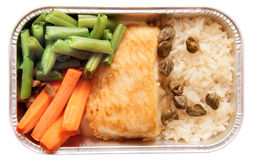 Fish and rice - airline meal. Isolated in white stock photo