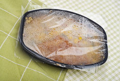 Fish and Rice Frozen Entree. Fresh Out of the Microwave Royalty Free Stock Image