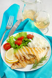 Fish with rice and salad on the plate Stock Photography