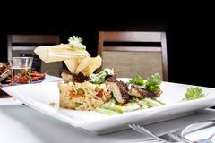 Fish with rice served in modern way Royalty Free Stock Image