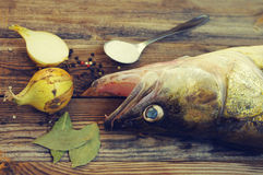 Fish a river pike perch on a wooden board with salt, bay leaf, onions, pepper. Stock Photo