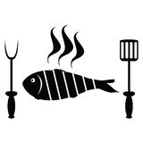 Fish roast on the barbecue grill Stock Images