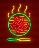 Fish roast at hot pan bbq picnic. Fishes barbeque at hot fry pan. Bbq fish picnic neon icon. EPS10 vector illustration Royalty Free Stock Photos