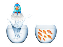 Fish rocket concept. Fish leaving fish bowl with rocket Stock Photos